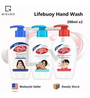 2pcs 200ml Lifebuoy Antibacterial Handwash Total Protect, Mild Care & Activ Fresh