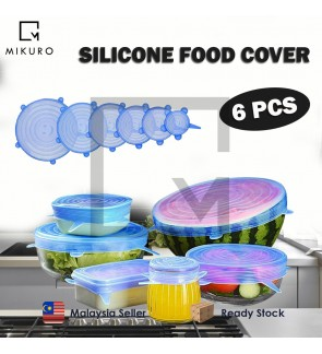 6PCS Silicone Stretch Lids Universal Food Taper Bowl Pot Lid Food Wrap Cover Sealed Silicone Cover for Kitchen Cookware
