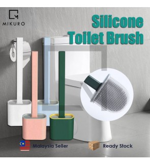 Silicone Toilet Brush Set Long Handle Bathroom Soft Brush And Holder With Lid Thoroughly Clean Any C
