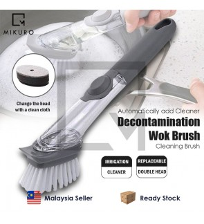 Wok Brush 2 In 1 Long Handle Cleaning Brush with Removable Brush Sponge Dispenser Dishwashing Brush Kitchen Tools