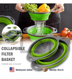 Foldable Drain Basket SQUARE/ROUND Colander Fruit Vegetable Washing Basket Strainer Collapsible Drai