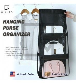 6 Pocket Hanging Handbag Organizer for Wardrobe Closet Transparent Storage Bag Door Wall Clear Sundry with Hanger Pouch