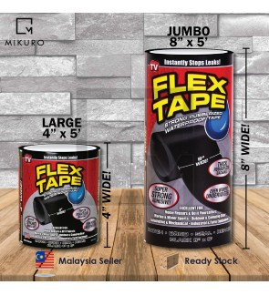 "4""x5'/ 8""x5' Super Strong Flex Tape Patch Bond Rubberized Waterproof Seal Repair"