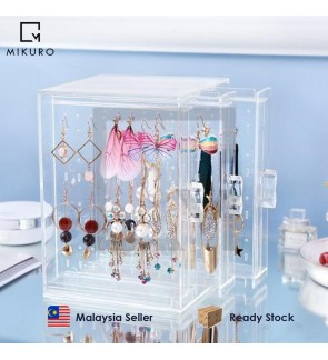 Earring Holder Clear Acrylic Storage Box Jewellery Case 3-Panel Storage Box