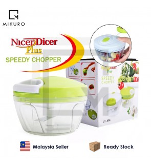 NicerDicer Plus Speedy Chopper Garlic Cutter Shredder Manual Meat Grinder