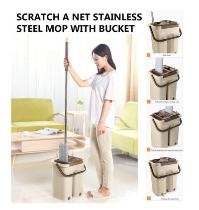 2 in 1 Self-Wash and Squeeze Dry Flat Mop with Bucket Scratch Net Stainless Steel Floor Hands Free W