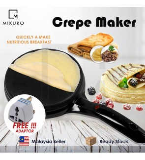 !!! FREE ADAPTER - *until Stock Last* !!! Non-Stick Popiah Skin Electric Crepe Maker Pan Lempeng Maker