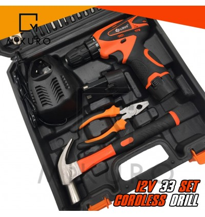 "12v Cordless Drill 36pc Set With 2 Battery FREE Flexible 1/4"" Shaft 40cm"