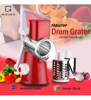 Tabletop Drum Grater Shredder Rotary with 3 Stainless Steel Rotary Blades Salad