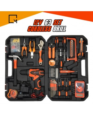 12v Cordless Drill 63pc Set With 2 Battery