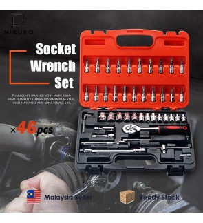 46pcs Socket Screwdriver Bit Tool Ratchet Driver Combination Wrench Set