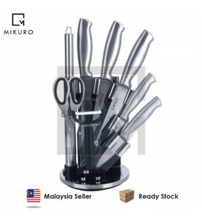 High Quality 9 Piece Stainless Steel Kitchen Knife Set Rotating Block Stand