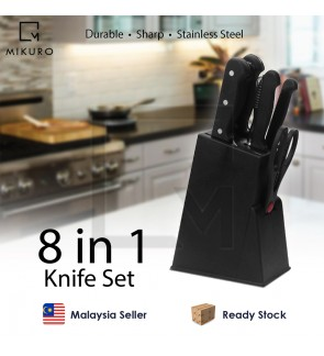 8 In 1 Vegetable Fruit Meat Kitchen Knife Set With Knife Stand Holder