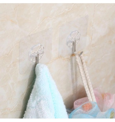 10pc Reusable Wall Hooks Strong Adhesive Magic Hook for Kitchen Bathroom Bedroom