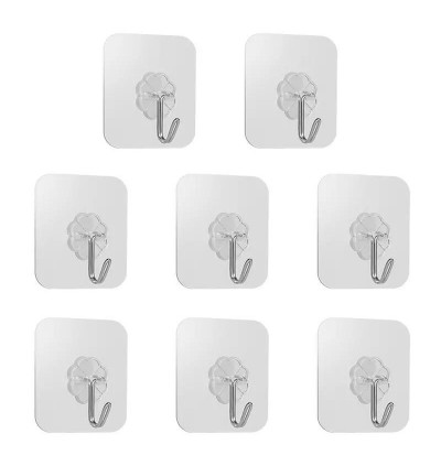10/25/50/75/100pcs Reusable Wall Hooks Strong Adhesive Magic Hook for Kitchen Bathroom Bedroom