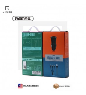 REMAX 2.4A Dual USB Car Charger with 3in1 data cable Fast Smart Charging Mini LED Car-charger