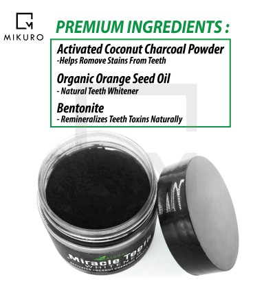 20g Miracle Teeth Black Activated Carbon Teeth Cleaning Powder Miracle Teeth Natural Activity Clean tooth Powder White Bamboo Charcoal Dentifrice