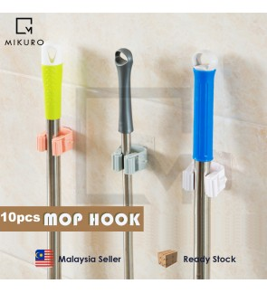 10Pcs Mop Hook Strong Home Bathroom Hooks Holder Hanger Storage Rack (Random Color)