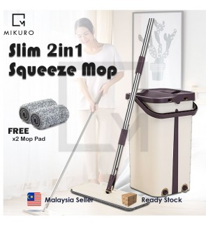 Flat Squeeze 2in1 Mop and Bucket Hand Free Wringing Floor Cleaning Mop with Bucket 2 Mop Pads