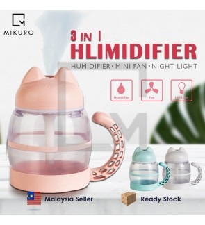 Sensor Touch 3 In 1 USB Cute Cat Mini Humidifier with LED Light & Fan Essential Oil Purifier Atomizer Air Humidifier