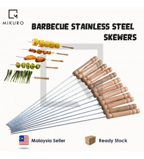 12 Pieces 38cm Barbecue Skewers Wooden Handle BBQ Meat Needle Roast Fork Kebab Stick Barbecue Tools